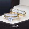 Trio de boda oro 14k con zirconias Troz-093