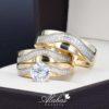 Trio de boda oro 14k con zirconias Troz-094