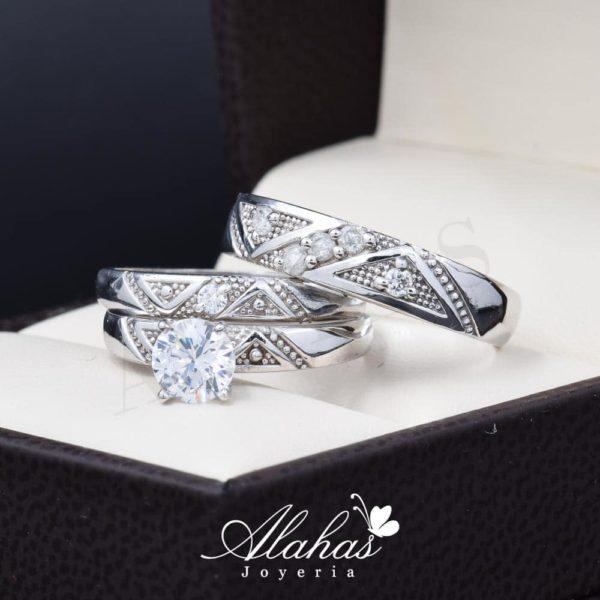 Trio de boda oro 14k con zirconias troz-096