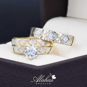 Trio de boda oro 14k con zirconias Trio-de-boda-oro-14k-zirconias-troz-098