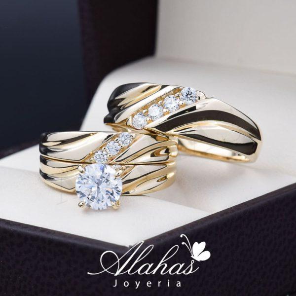 Trio de boda oro 14k zirconias troz-099