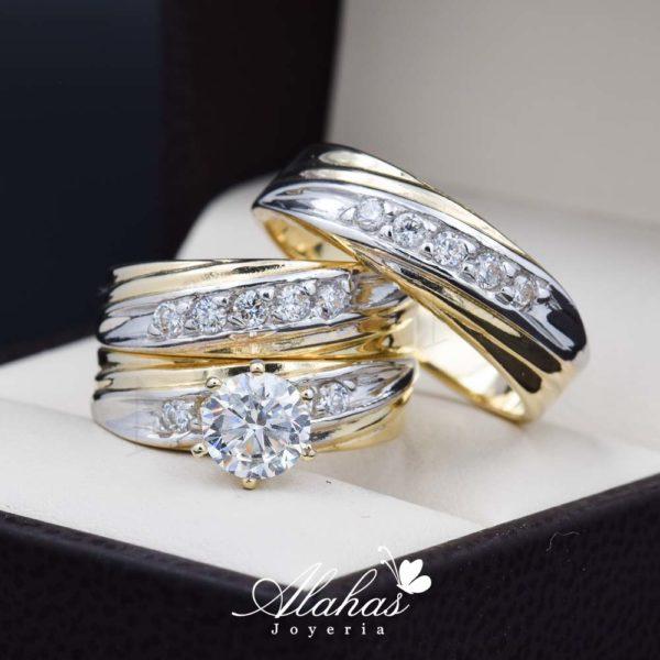Trio de boda oro 14k con zirconias troz-100