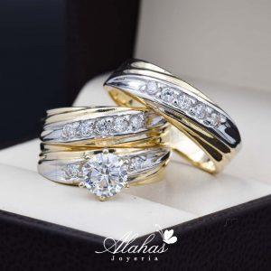 152fbe015e69 Trio de boda oro 14k con zirconias troz-100