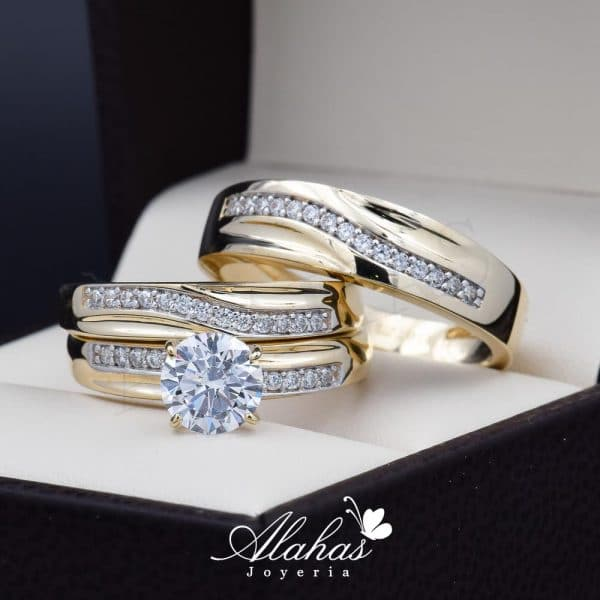 Trio de boda oro 14k con zirconias Troz-095