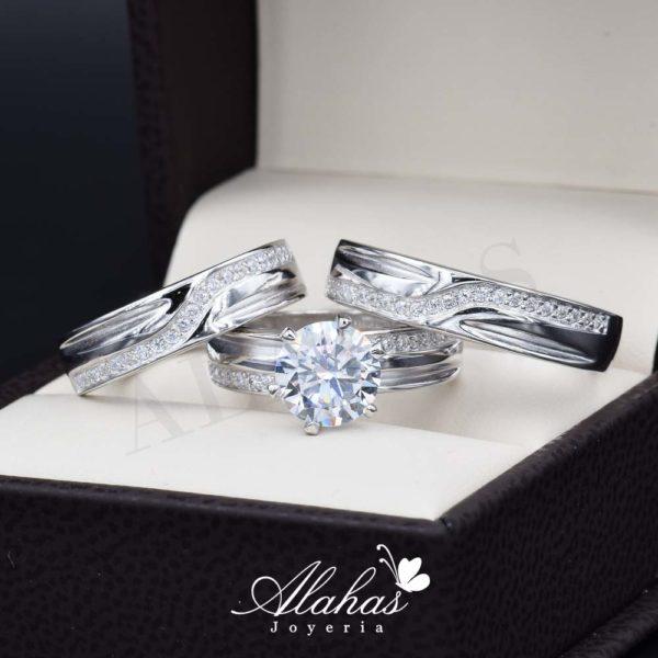 Trio de boda en Plata 925 abpt-011