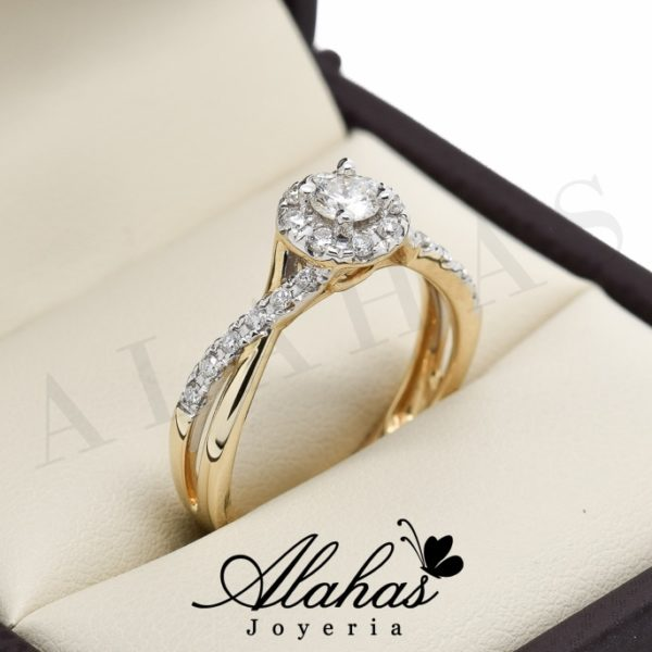 Anillo de compromiso Oro 14k diamantes sdiam-014