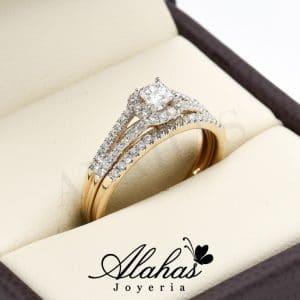 Duo de boda oro 14k diamantes ddiam-002