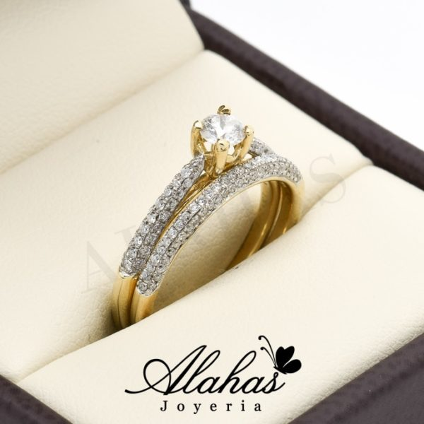 Duo de boda oro 14k diamantes ddiam-004