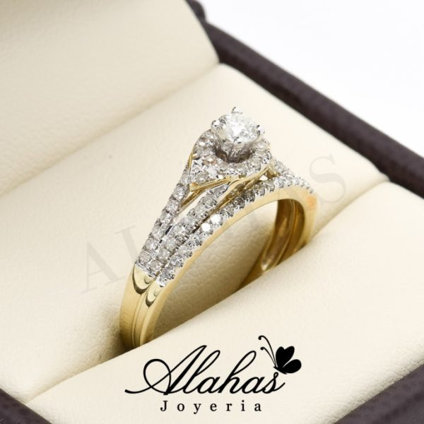 Duo de boda oro 14k diamantes ddiam-007