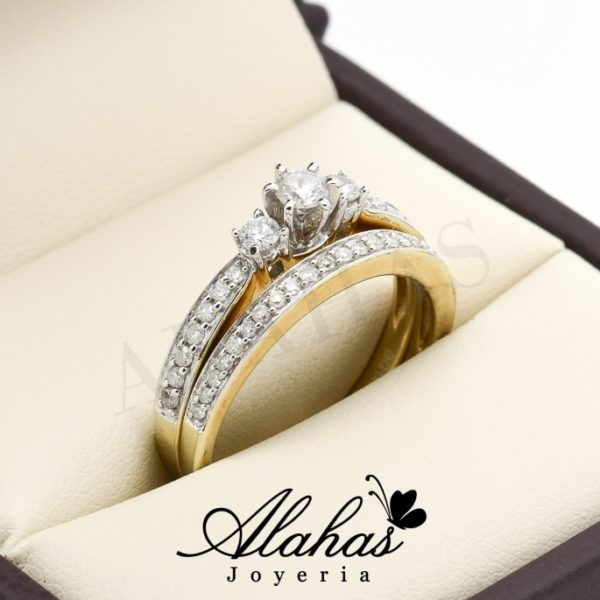 Duo de boda oro 14k diamantes ddiam-011