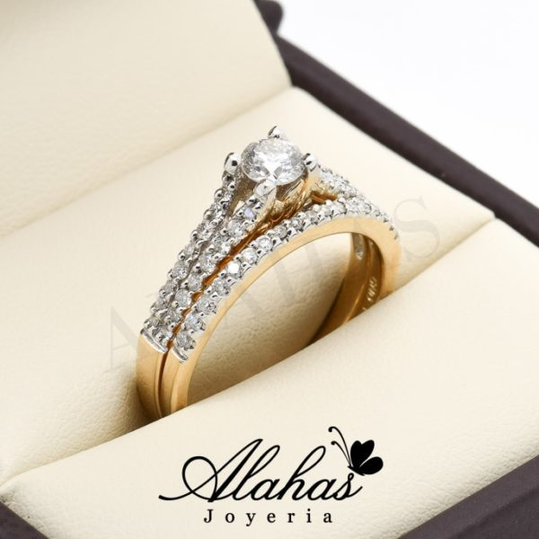 Duo de boda oro 14k diamantes ddiam-014