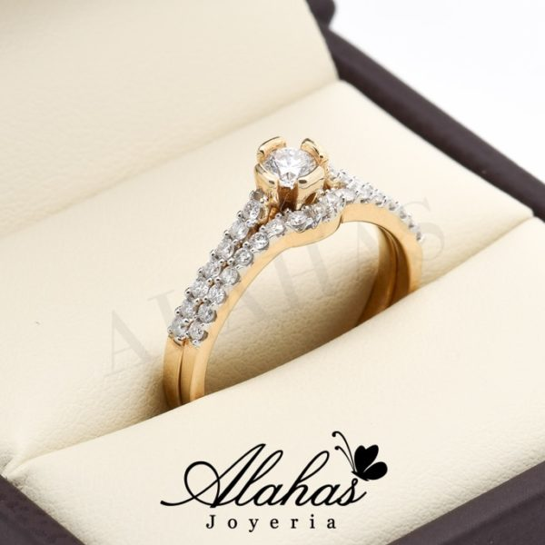 Duo de boda oro 14k diamantes ddiam-016