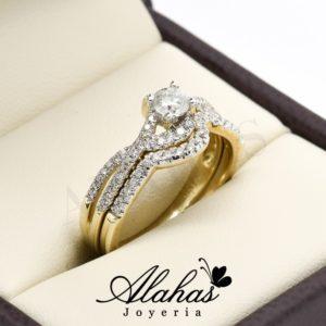 Duo de boda oro 14k diamantes ddiam-017