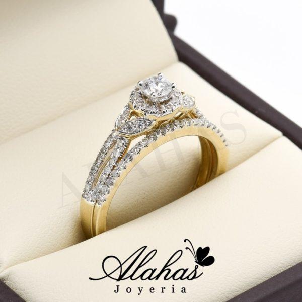 Duo de boda oro 14k diamantes ddiam-026