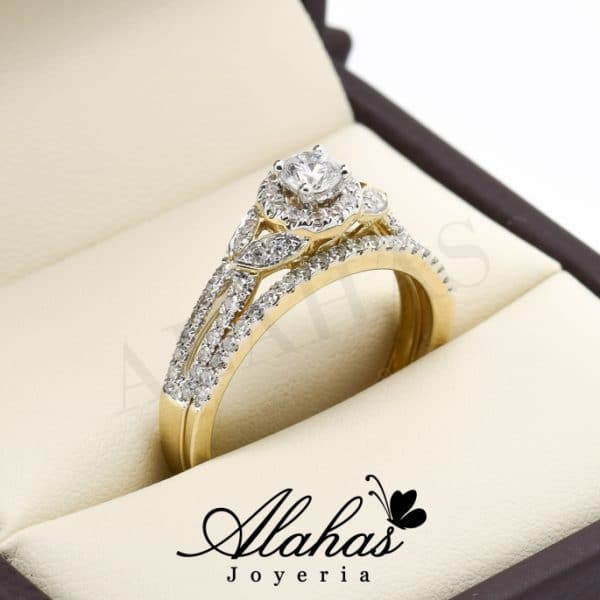 Duo de boda oro 14k diamantes ddiam-026