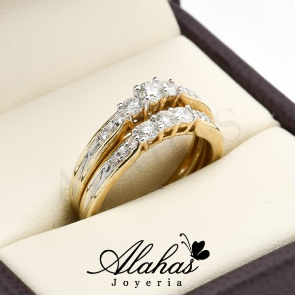Duo de boda oro 14k diamantes ddiam-030