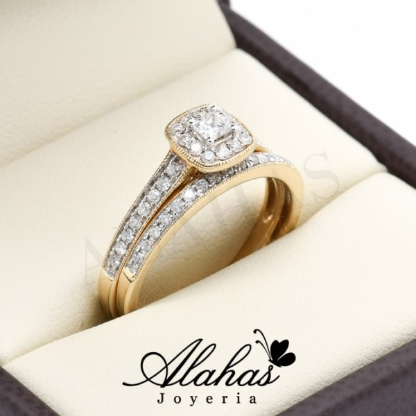 Duo de boda oro 14k diamantes ddiam-041