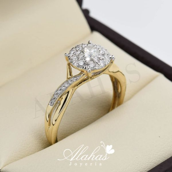 Anillo de compromiso Oro 14k diamantes sdiam-082