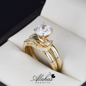 Duo de boda oro 14k zirconias do-050