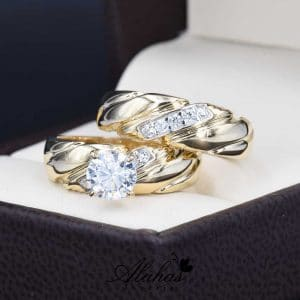 Duo de boda Oro 14k zirconias Joyeria Alahas do-061