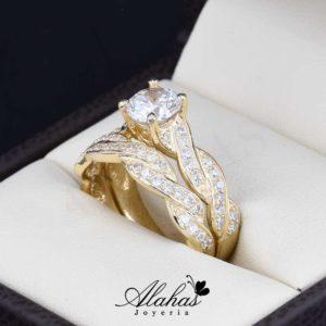 16e106b8333c Duo de boda Oro 14k zirconias Joyeria Alahas Do-063