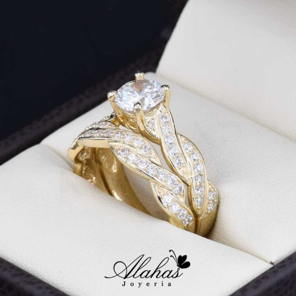 Duo de boda Oro 14k zirconias Joyeria Alahas Do-063
