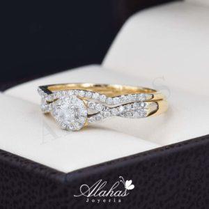 Duo de boda oro 14k con diamantes ddiam-071