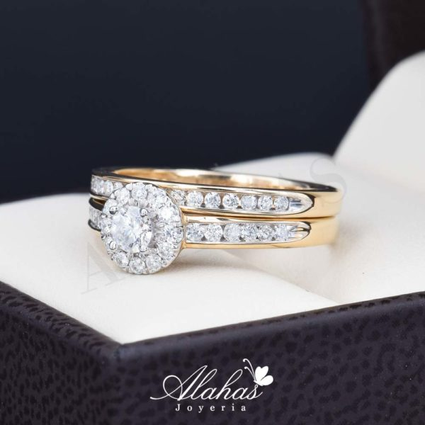 Duo de boda oro 14k con diamantes ddiam-073