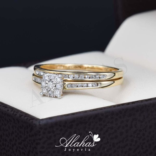 Duo de boda oro 14k con diamantes ddiam-074