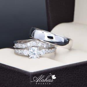 Trio de boda en plata 925 Joyeria Alahas abpt-029