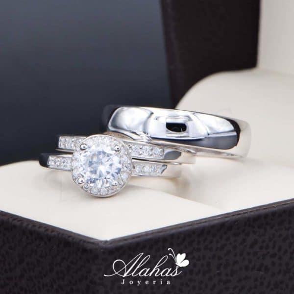 Trio de boda en plata 925 Joyeria Alahas abpt-030