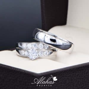 Trio de boda en plata 925 Joyeria Alahas abpt-031