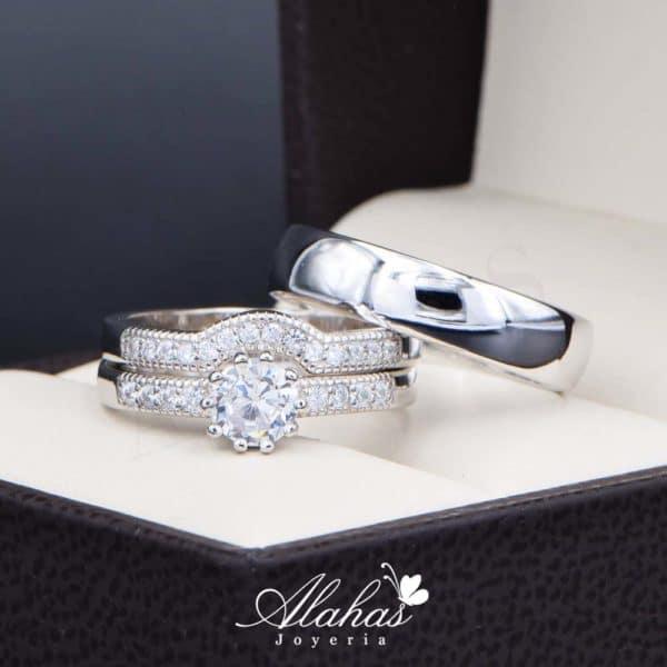 Trio de boda en plata 925 Joyeria Alahas abpt-032