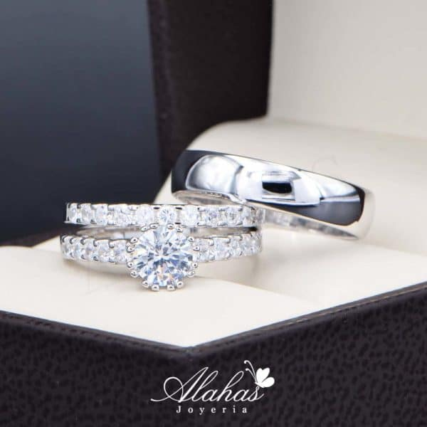 Trio de boda en plata 925 Joyeria Alahas abpt-033