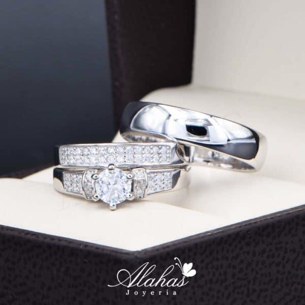 Trio de boda en plata 925 Joyeria Alahas abpt-034