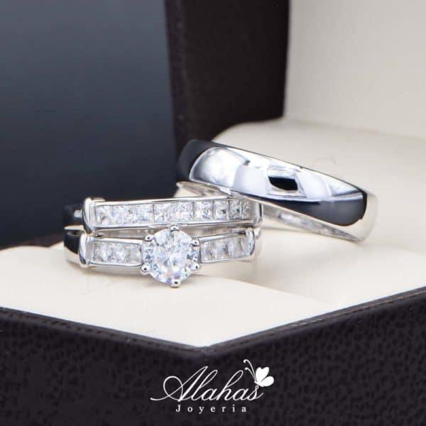 Trio de boda en plata 925 Joyeria Alahas abpt-035
