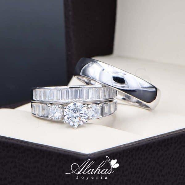 Trio de boda en plata 925 Joyeria Alahas abpt-036