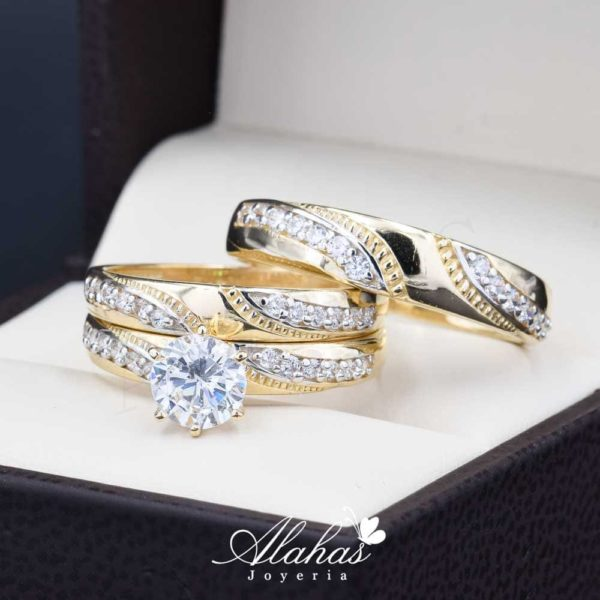 Trios de boda oro 14k troz-105