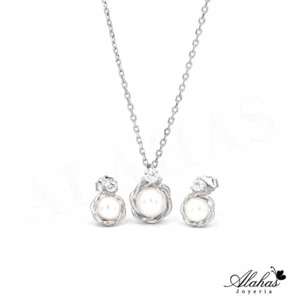 Setde Perla en Plata 925 con zirconias SP-033