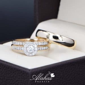 Trio de boda Oro 14k con diamantes TDIAM-022