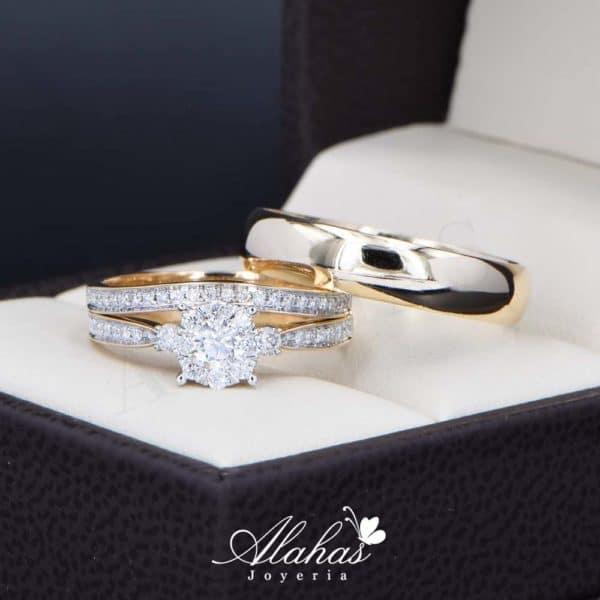 Trio de boda Oro 14k con diamantes TDIAM-023