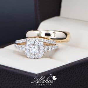 Trio de boda Oro 14k con diamantes TDIAM-024