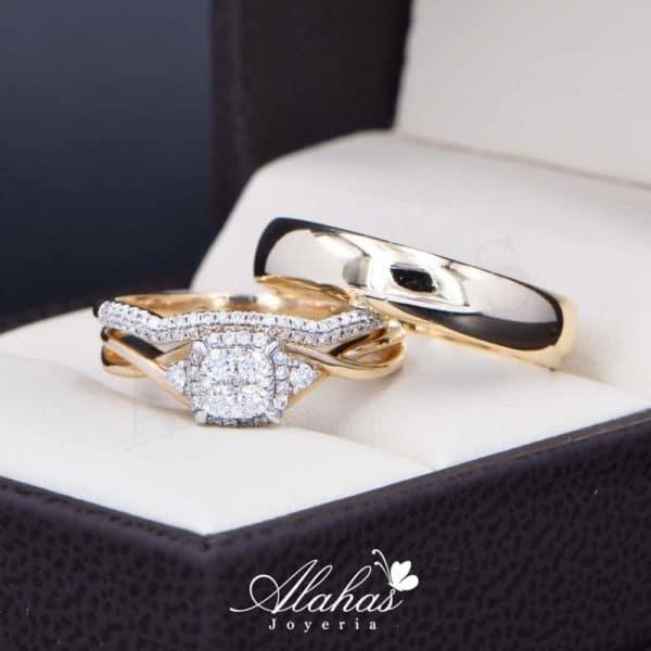 Trio de boda Oro 14k con diamantes TDIAM-025
