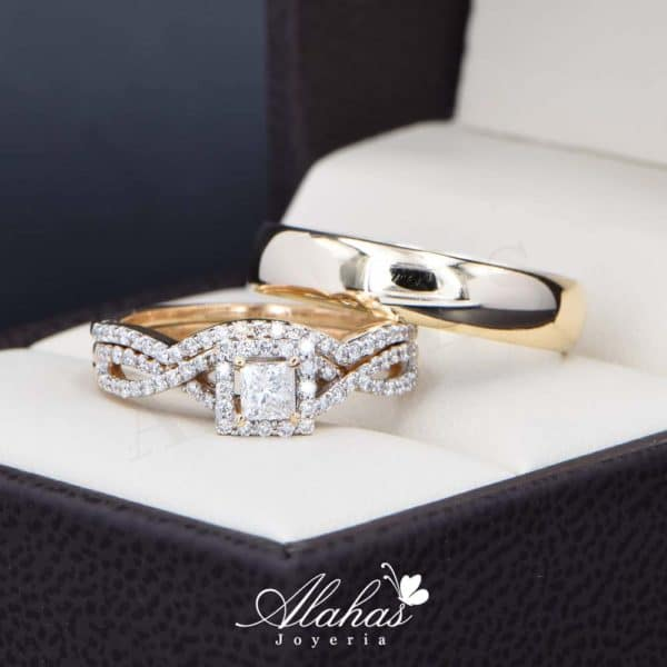 Trio de boda Oro 14k con diamantes TDIAM-026