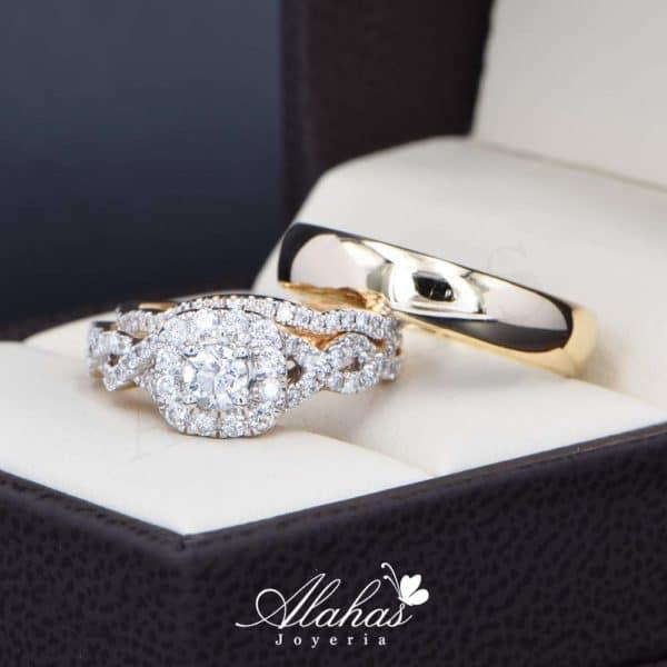 Trio de boda Oro 14k con diamantes TDIAM-027