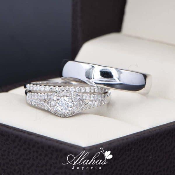 Trio de boda Oro 14k con diamantes TDIAM-030