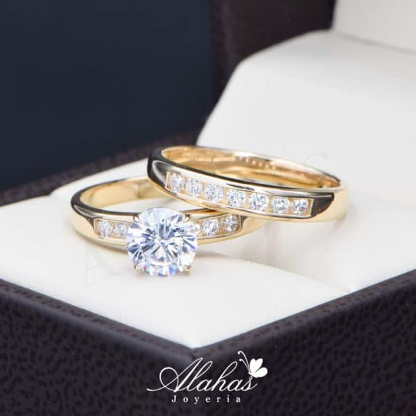 Duo de boda oro 14k joyeria alahas do-085