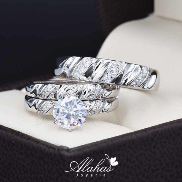Trio de boda en plata 925 Joyeria Alahas abpt-037