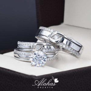 Trio de boda en plata 925 Joyeria Alahas abpt-038