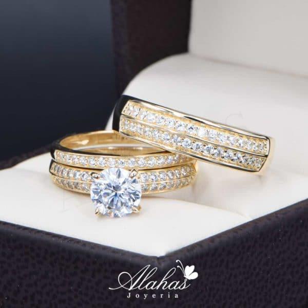 Trios de boda oro 14k Joyeria Alahas troz-107